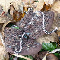 Wool & Leather Baby Boots - Dark Chocolate- sizes 1-3 - optional personalisation