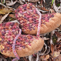 Wool & Leather baby boots - Ginger Nut- sizes 1-3 - optional personalisation