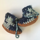 Wool & Leather baby boots - Blueberry- sizes 1-3 - optional personalisation