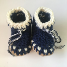 Wool & Leather baby boots - Scandi Blue- sizes 1-3 - optional personalisation