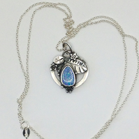 Leafy Opal and silver pendant