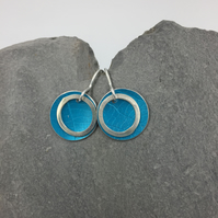 Anodised aluminium and silver ring leaf texture circle earrings in turquoise