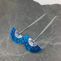 Long drop blue dandelion earrings