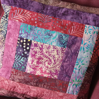 Quilted Purple, Red and Blue Batik Cushion with inner pad