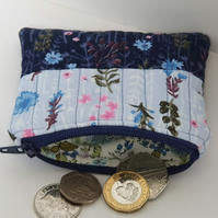 Quilted Coin Purse in Blue Florals