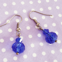 Gunmetal and Sparkling Blue Crystal Earrings