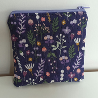 Purple, Floral, Quilted Pouch, Purse
