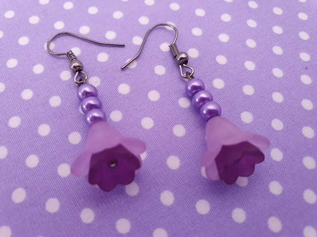 Purple Flower and Gunmetal Drop Earrings