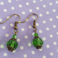 Antique Bronze and Sparkling Green Crystal Earrings