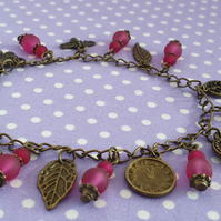 Frosted Pink and Antique Bronze Charm Bracelet