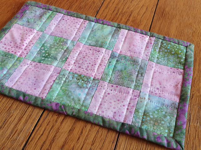 Quilted Lilac and Green Batik Mug Rug