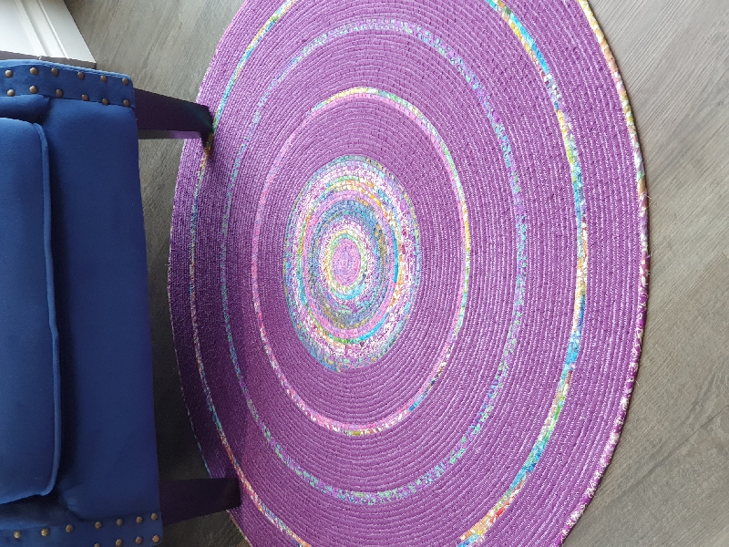 Fabric Wrapped Rope Rug Purple Batik