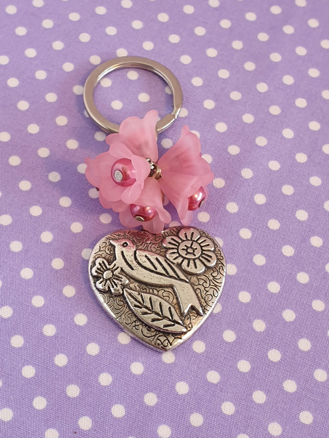Pink Flower, Bird and Heart Keychain, Keyring, Bag Charm
