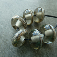 grey wrapped lampwork glass beads
