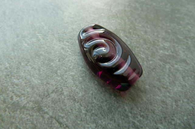 purple spiral lampwork glass focal