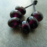 purple spacer lampwork glass beads