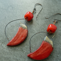 copper, red lampwork and ceramic earrings