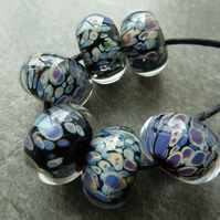 black magic lampwork glass beads