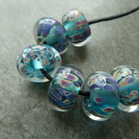 blue reactive frit lampwork glass beads