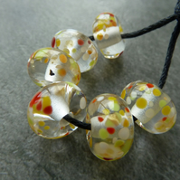 yellow frit lampwork glass beads