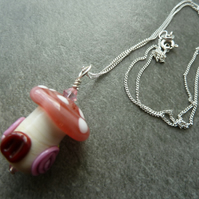 pink toadstool silver necklace