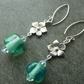 sterling silver green lampwork glass earrings