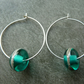 sterling silver hoop, teal lampwork glass earrings