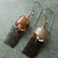 copper and pink lampwork glass earrings