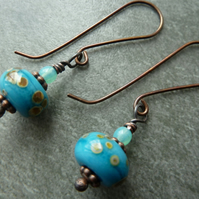 copper and turquoise lampwork earrings
