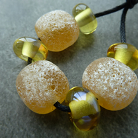 yellow lampwork glass beads