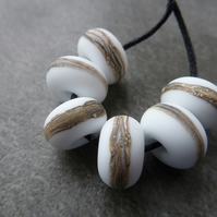 lampwork glass beads, white wrapped set