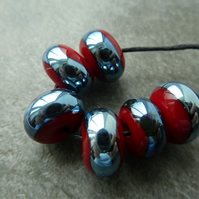 red and silver wrapped lampwork glass beads
