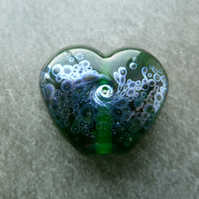green heart silver frit lampwork glass bead