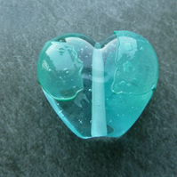 aqua glass shard lampwork heart bead
