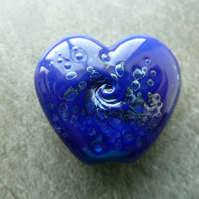 blue heart silver frit lampwork glass bead