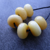 yellow lampwork glass spacer beads