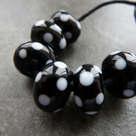 black and white spot lampwork glass beads