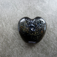 black heart silver frit lampwork glass bead