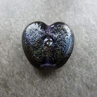 purple, silver frit lampwork glass heart bead