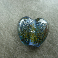 light blue, silver frit heart lampwork glass bead