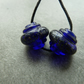 blue and silver frit ornate lampwork glass beads