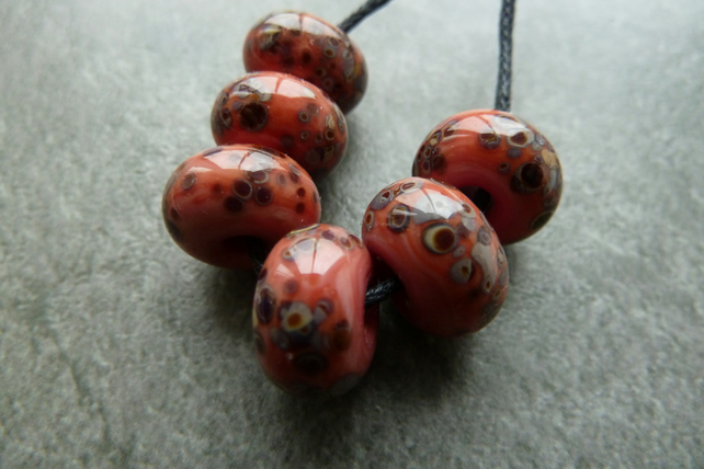 coral frit lampwork glass beads