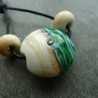 green sea focal, lampwork glass bead