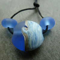 blue sea lampwork glass focal bead