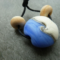 blue beach lampwork glass bead