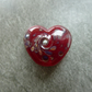 red frit heart, lampwork glass bead