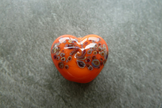 orange frit heart, lampwork glass bead