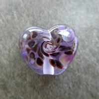 purple frit heart, lampwork glass bead