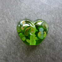 green frit heart, lampwork glass bead