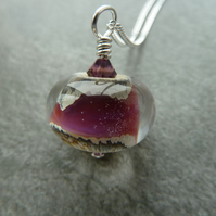 purple lampwork, sterling silver chain